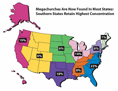 Megachurches Today Summary Report By Scott Thumma Dave - Which reegion in the us has the fewest megachurches map