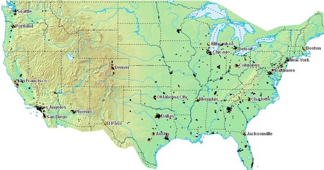 A Quick Question About The Locations Of Megachurches - Which reegion in the us has the fewest megachurches map